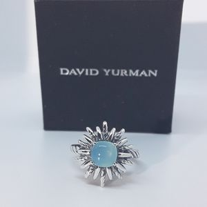 DAVID YURMAN OLD STYLE FLOWER RING WITH AQUA